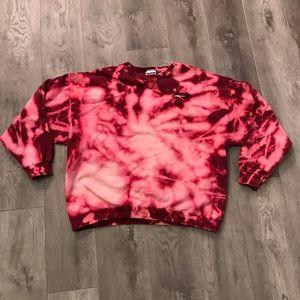Vtg Reebok Sweatshirt Collared Bleached Tye Dye